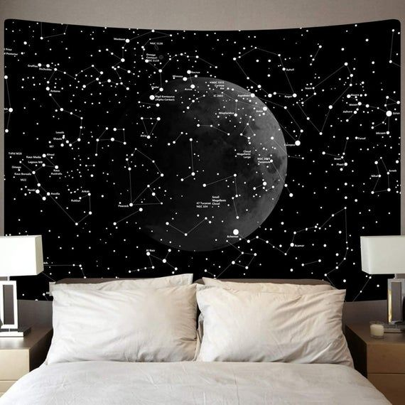 Moon Constellations Tapestry Wall Hanging Space Astrology Etsy In 2020 Constellation Tapestry Indian Wall Decor Blanket On Wall