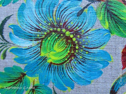 Добрый день, друзья! Продолжаю работать в выбранном направлении - роспись по ткани и пошив  из этого материала сумок. Использую ткань - лен, краски по ткани фирмы DEKOLA, колонковые круглые кисти и кисточку из кошачьей шерсти. фото 9