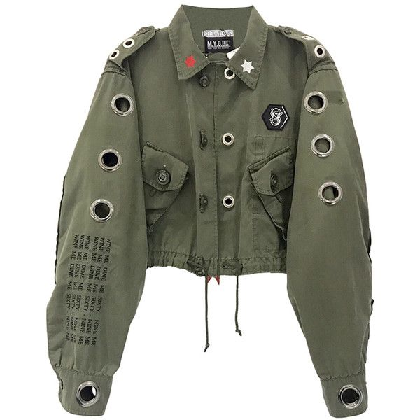 EYELET ARMY JACKET ($365) ❤ liked on Polyvore featuring outerwear, jackets, eyelet jacket, field jacket, army jacket and military jacket