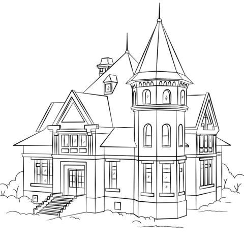 Victorian House Ausmalbild   Haus zeichnung, Ausmalbilder ...