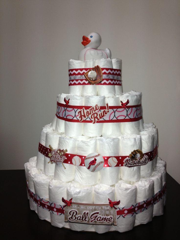 cardinals baseball diaper cake diaper cakes baby shower pinterest