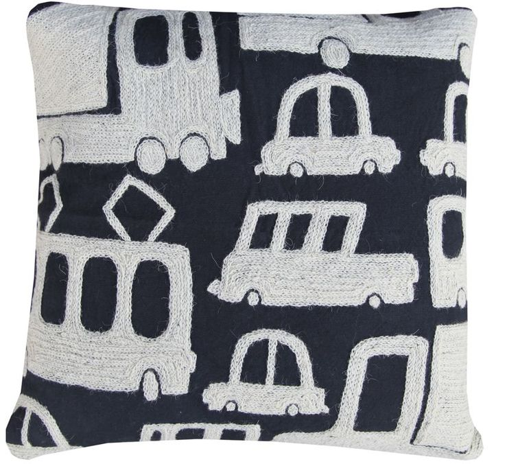 Brum Brum  Design Ea Söderberg/Hapate Design. Material: Wool yarn-embroidery on cotton cloth Size: 50 x 50 cm Change: The patterns are embroidered by hand in various colors. Care instructions: Hand Wash at 30 c