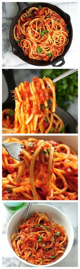 Quick and Easy Bucatini all'Amatriciana - a flavorful 30 minute meal that tastes like it's been cooking all day!