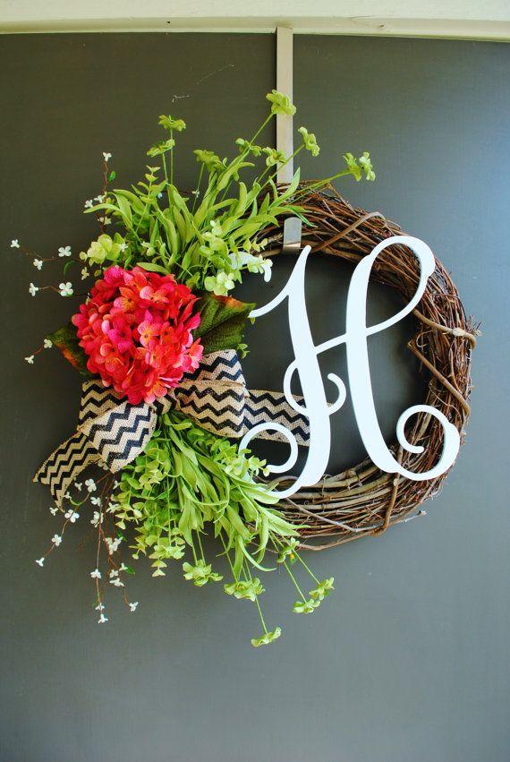 Pink Hydrangea Monogram Grapevine Wreath with Burlap. Year-Round, Spring, Summer Wreath. Housewarming, Mother's Day. on Etsy, $60.00