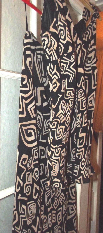 Vintage Womens Black & Beige wallis Petite Dress UK size 12 USA size 10 1980's