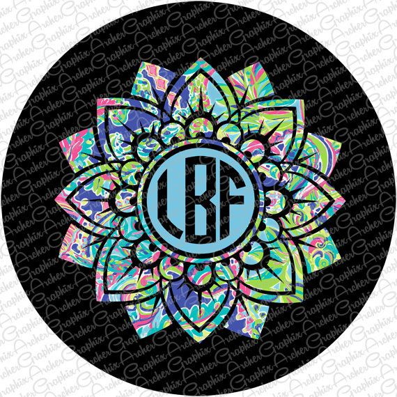 Spare Tire Cover Lilly Pulitzer Inspired Monogram Pick your