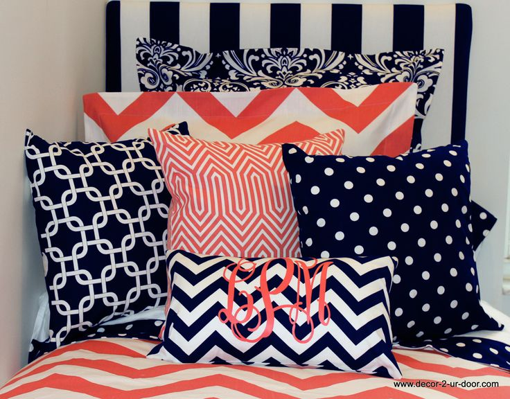 Design Ur Own Coral And Navy Bedding And Pillows. Designer