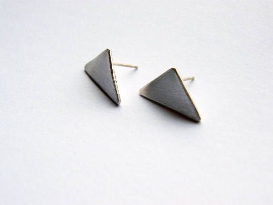 Triangle. matte silver geometric shaped earrings