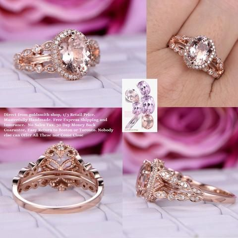 Oval Morganite Engagement Cathedral Ring Art Deco Split Shank 14K Rose Gold Milgrain Under Gallery8x10mm