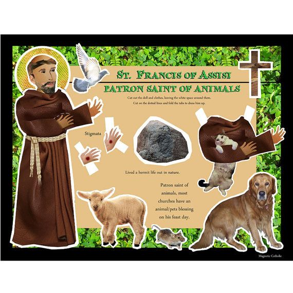 SALE St Francis of Assisi patron saint of animals DIY craft project paper doll digital download