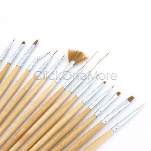 MON PRO 15 PCS Acrylic Nail ART Paint PEN KIT Brush Draw Dotting Deco Tool AU | eBay