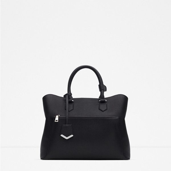 Zara Office City Bag ($70) ❤ liked on Polyvore featuring bags, handbags, black, zara, black purse, black bag, zara bag, zara handbags and black handbags