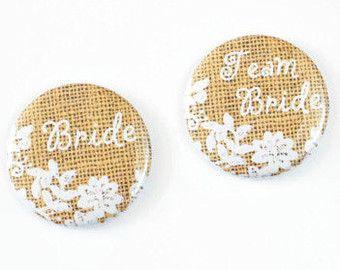 Rustikale Hochzeit Pins Team Braut Schaltflächen von gloriousweirdo