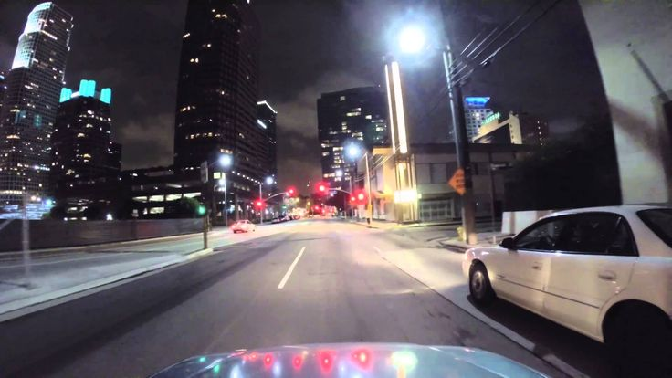 Driving around Los Angeles Downtown At Night