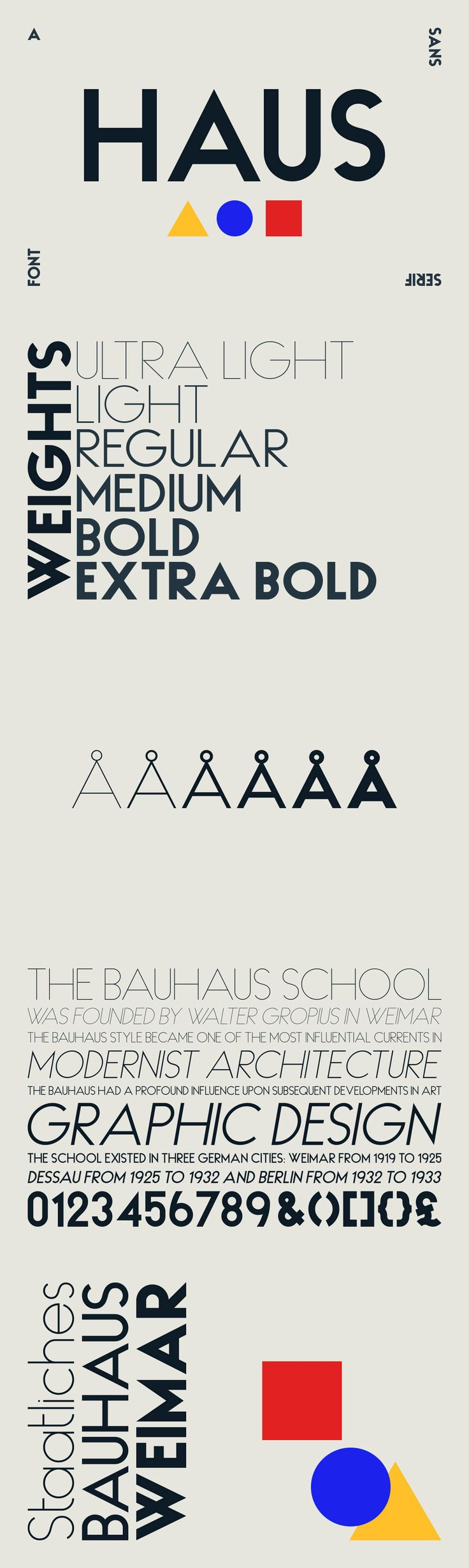 HAUS Sans - HAUS Sans is inspired by Bauhaus and historical grotesk typefaces of the 1930s.