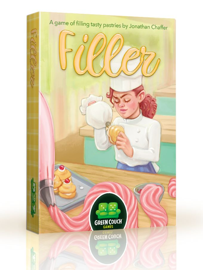 Filler: a tasty pastry card game.Manage your pantry. Fill delicious pastries. Become Star Baker. It's from Green Couch Games so you know it will be yummy!  Check it out at: https://www.kickstarter.com/projects/2005228768/filler-a-tasty-pastry-card-game-from-green-couch-g  #BoardGames #CardGames #GreenCouchGames #Filler