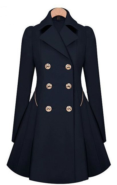 Women Long sleeves Attractive Double-Breasted Trench Coat