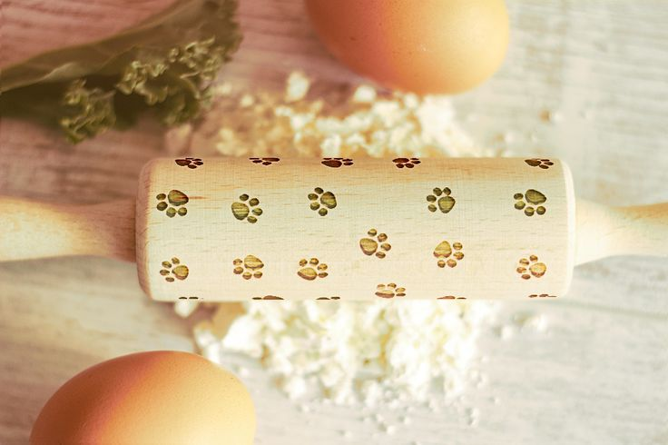 Wooden Engraved Mini Rolling Pin Dog Paws Pattern Unique Personalized