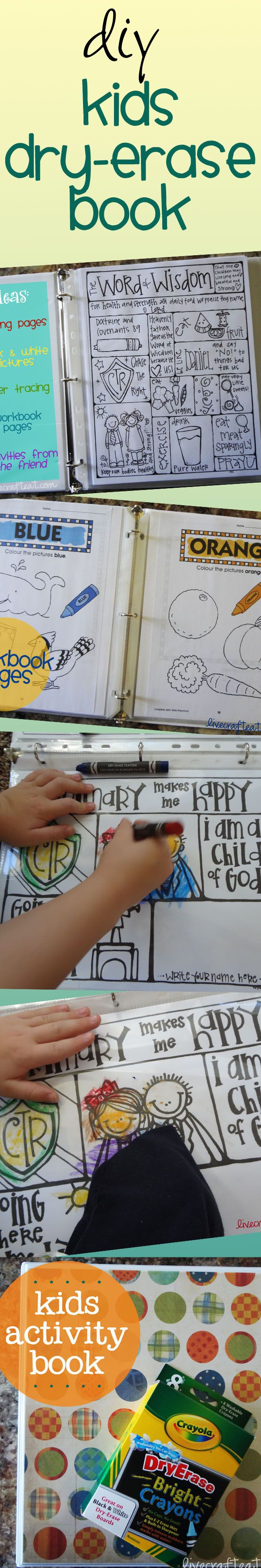 Create a multi-use coloring/activity book with dry-erase crayons.