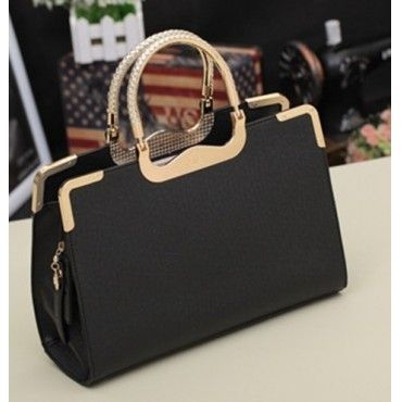 Fashion New Style Zipper Clutches Black PU Bag