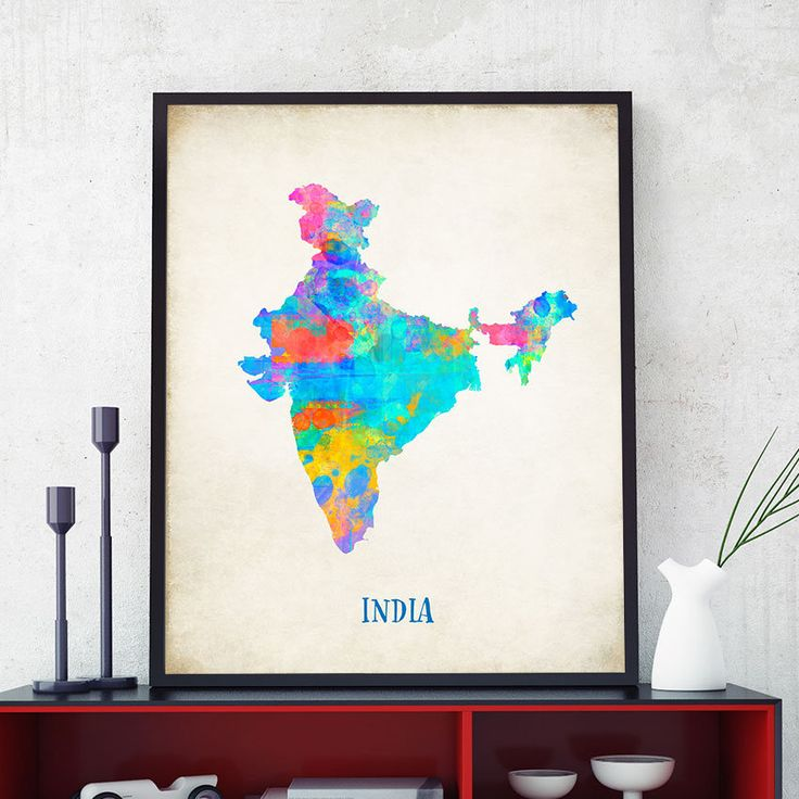 india map wall art india map print map of india poster watercolour india continent map home decor nursery india theme 723