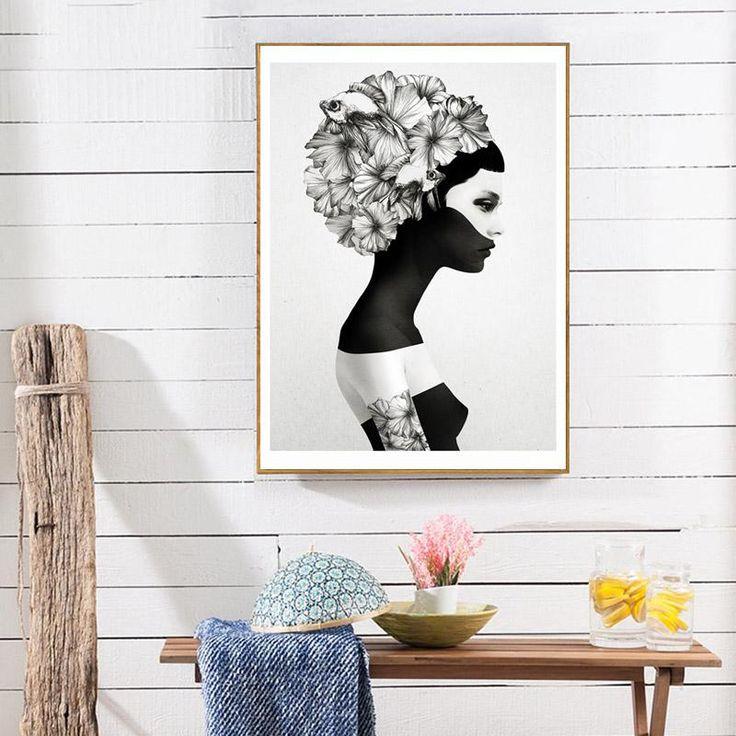 Black & White Flower Girl Canvas Print
