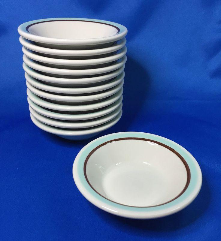 Shenango China RimRol WelRoc Dessert Bowl 12pc Aqua Blue & Brown Restaurant Ware