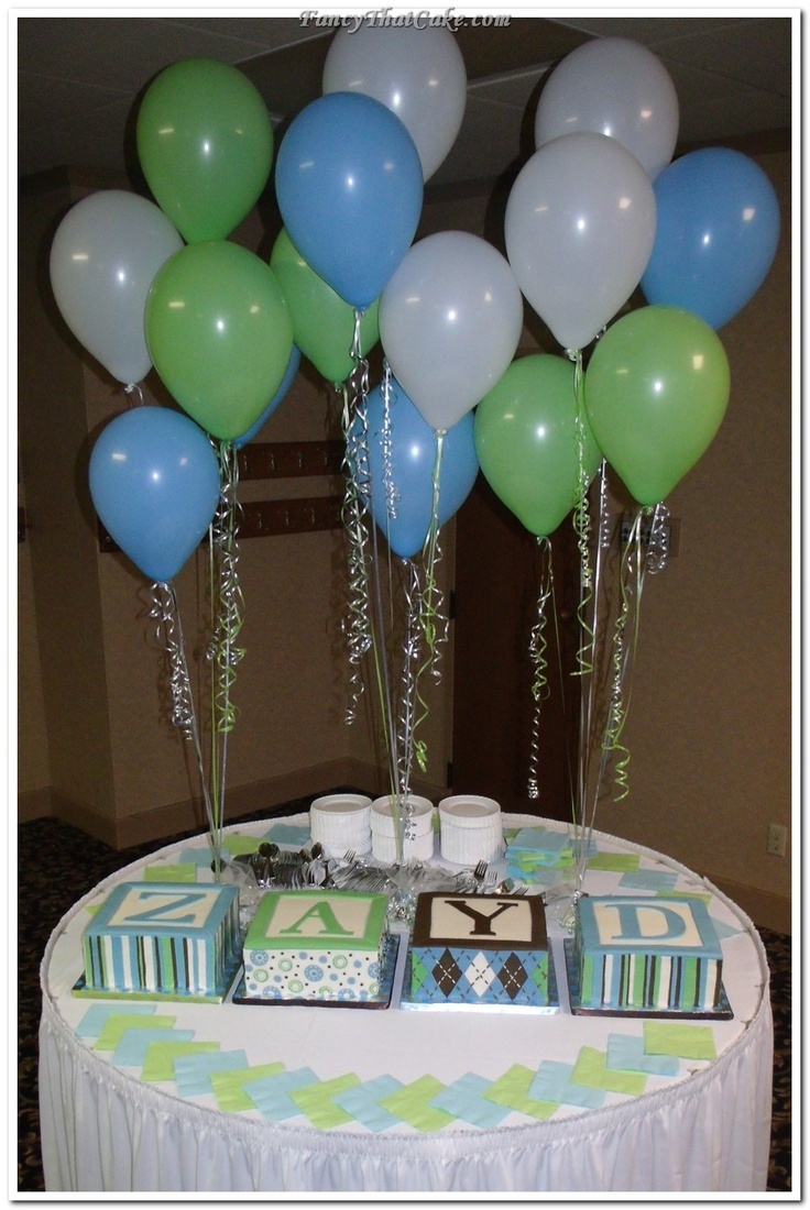 blue green baby shower   Blue, Green and Brown Baby Shower Baby Block Cakes