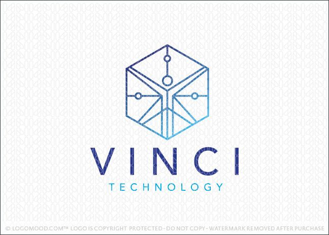 Logo for sale: Modern design of the vitruvian man that's created with simple clean lines and geometrical elements to create this abstract figure. The vitruvian man is designed to take the shape of a 3D box cube with simple circles travelling along the lines to represent data flow and technology.