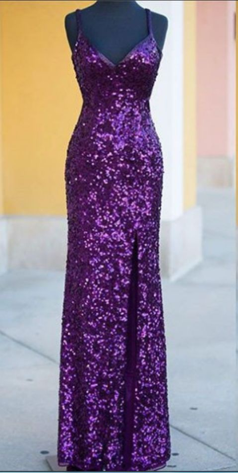 The purple sequined PROM dress, the spaghetti straps.