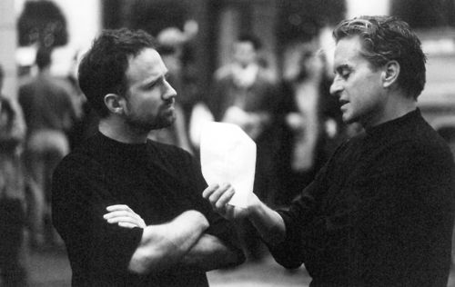 David Fincher and Michael Douglas on-set of The Game (1997 ...