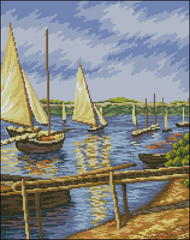 "Needlepoint pattern ""Sailboats in Argenteuil"" based on the painting by Gustave Caillebotte Voiliers à Argenteuil (1888) (Gustave Caillebotte"
