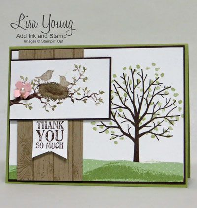 Stampin' Up! World of Dreams stamp set and Stampin' Up! Sheltering Tree stamp set. Spring card with tree branch with birds on a nest. Made by Lisa Young, Add Ink and Stamp