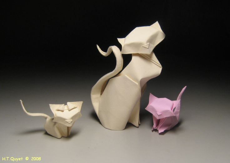 Gatos diseñados por Hoang Tien Quyet | El arte del Origami | illustrated instructions