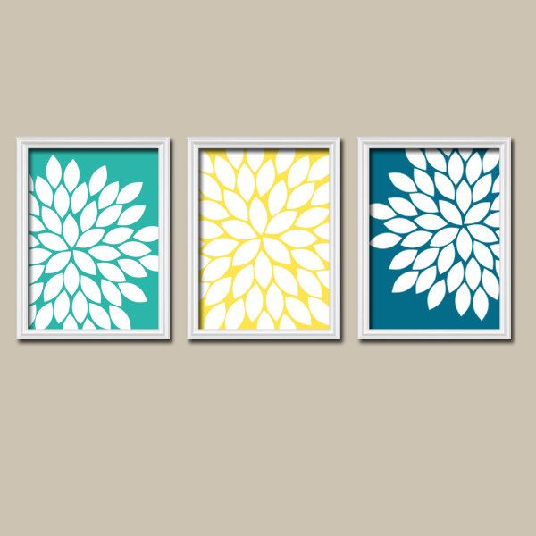 Flower wall art canvas or prints navy green brown bedroom for Yellow and brown bathroom decor