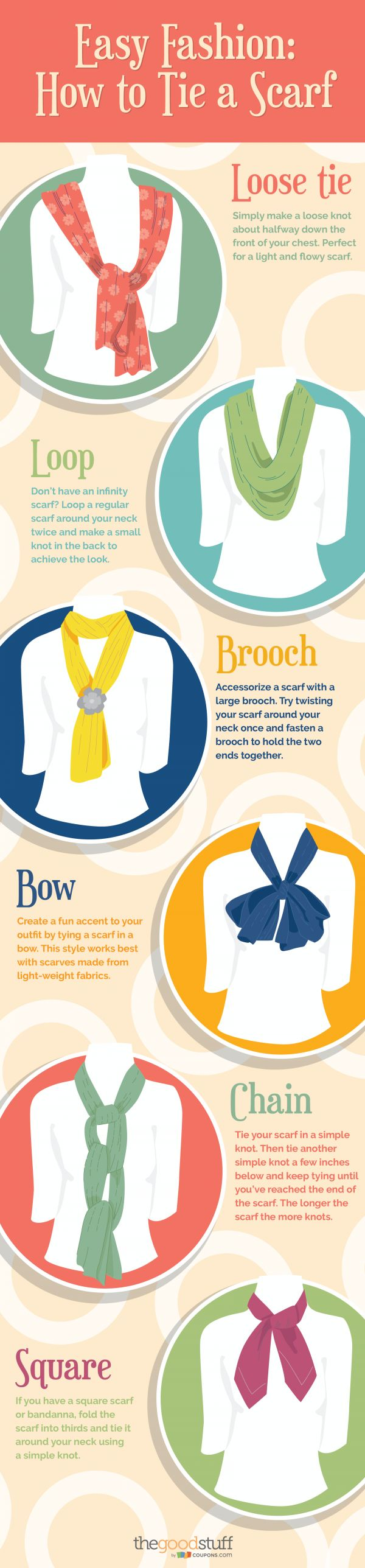 Add a scarf to your spring outfits. Here are 6 easy ways to tie a scarf!