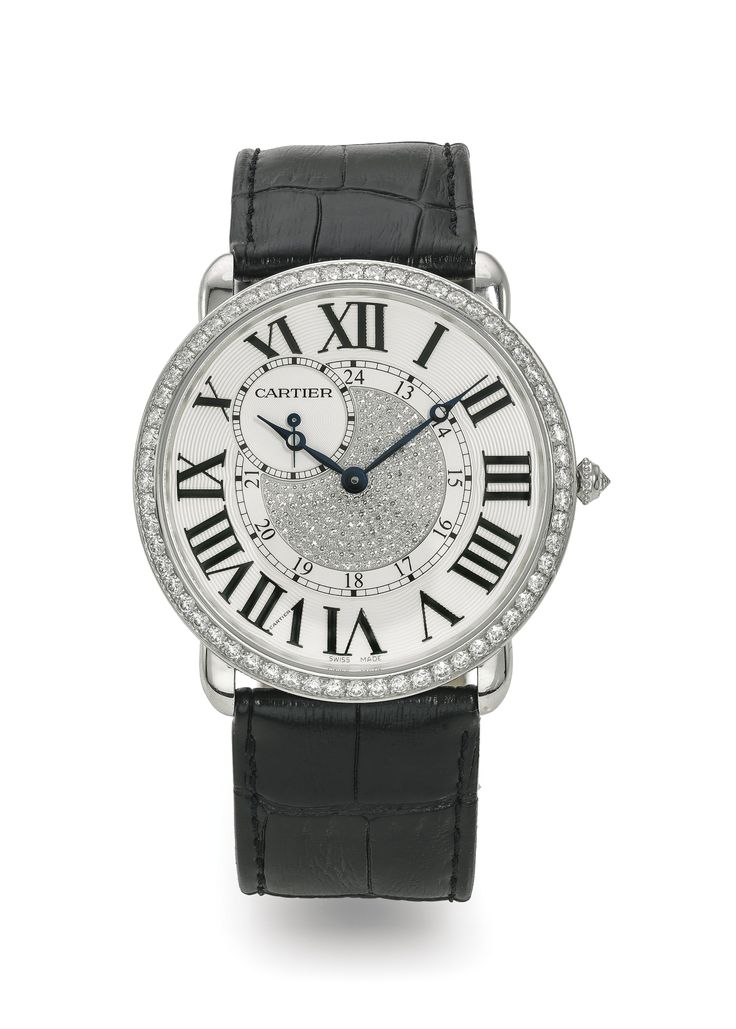 Cartier A FINE AND OVERSIZED WHITE GOLD AND DIAMOND-SET WRISTWATCH REF 3269 CASE 136967RX RONDE LOUIS CARTIER XL CIRCA 2010 • cal. 9754 MC manual winding lever movement, 19 jewels, mono-metallic balance • silvered guilloché dial, diamond-set centre, Roman numerals, eccentric subsidiary seconds between 10 and 11, inner ring for 24-hour indication • 18k white gold polished case, diamond-set bezel and crown, sapphire crystal back display secured by 8 screws • case, dial and movement signed •…
