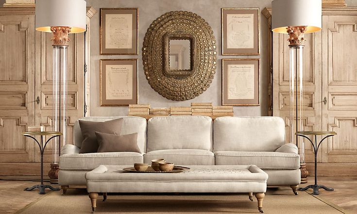 restoration+hardware+rooms | English Roll Arm 9' Sofa Classic Upholstered Standard Belgian Linen ...