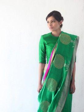 Green Silk & Zari Marigold Saree by Raw Mango