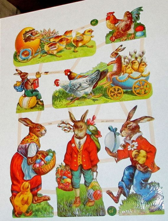 New German Easter humanized bunny rabbits chicks bright eggs litho scrap diecuts Germany EF 7399 craft paper decoupage cards scrap booking
