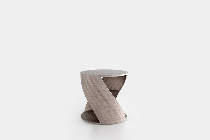 Cylindrical side table with a middle shelf, from the collection MYDNA designed by Joel Escalona. Made of wood and heavy-duty fibers. Finished in natural wood or semi-gloss lacquer. MYDNA Table Oak Grey #Table #Sidetable #furniture #design #nono #coolinteriors