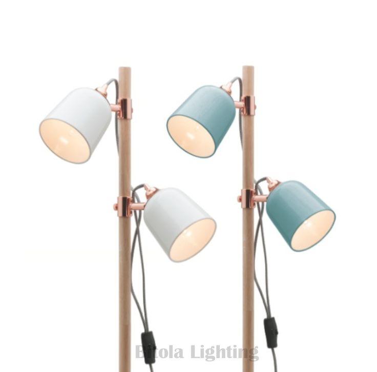 Cuba+2+Light+Floor+Lamp+-+Duck+Egg+or+White+w/+Timber+&+Copper+-+Mercator+A38622, $169.00