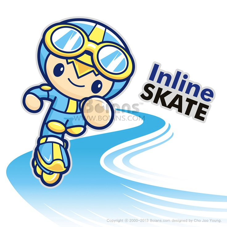인라인 스케이트를 타고 있는 소년 마스코트, 스포츠 캐릭터 디자인 시리즈, (BCDS010504)  Inline skating boy Mascot, Sports Character Design Series, (BCDS010504)  Copyrightⓒ2000-2013 Boians.com designed by Cho Joo Young.