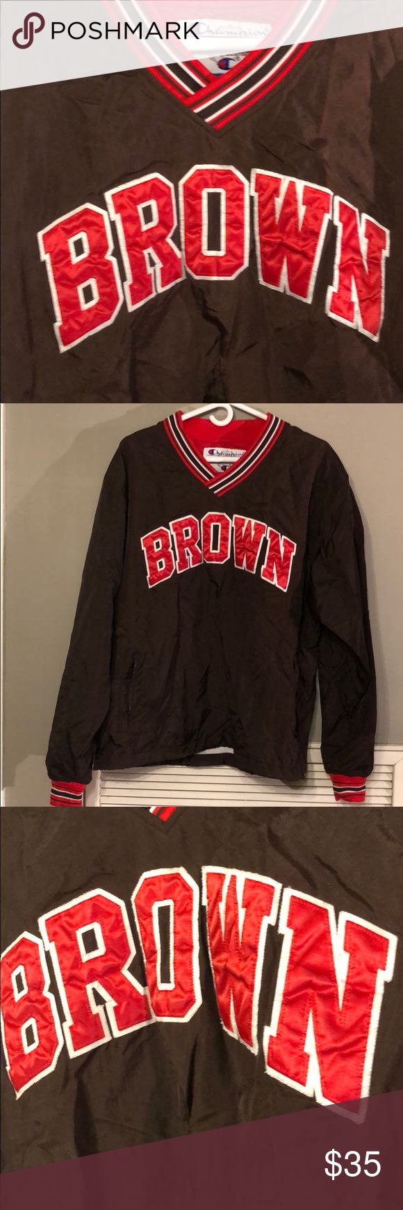 90s Champion Pullover Vintage 90s Brown University Ivy League College   Pullover Jacket   Sz. M Champion Jackets & Coats