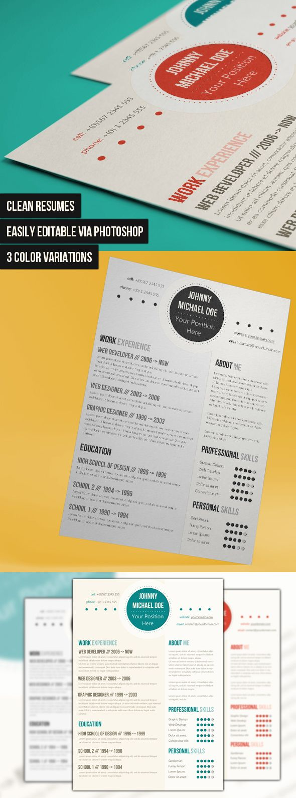 Simple And Clean Resume by codegrape.deviantart.com on @deviantART
