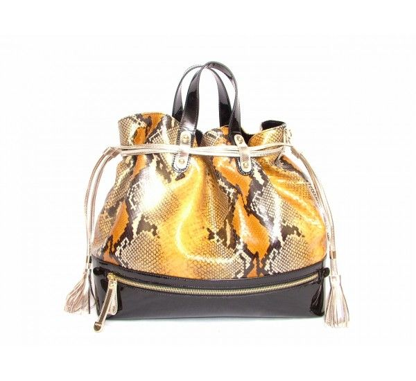 Luciano Padovan Python handbag in rich gold and toffee colours.  Black patent base to the bag with a zipped pocket.  Two gold drawstrings loosen and a magnetic clasp opens to reveal one compartment with one zipped pocket and one open pocket.  Detatchable should strap. £689