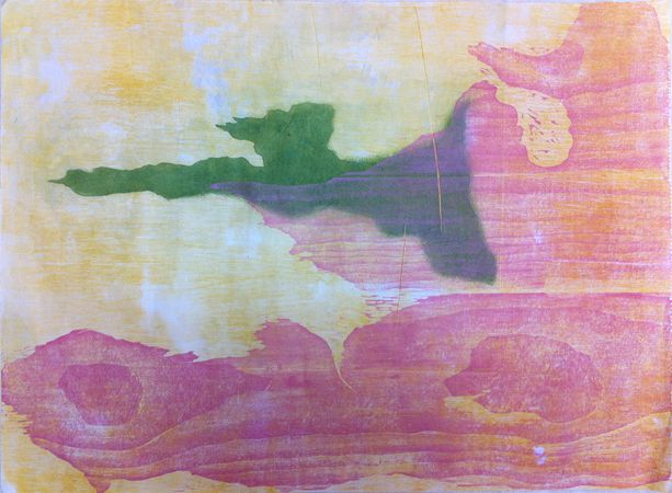 Ode to Frankenthaler, Etching with aquatint, woodcut, 22in x 30in