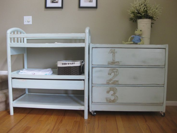 White Distressed Baby Furniture | Baby Dresser and Changing Table Redo