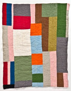 Strip Quilt East Texas, 1940s - 50s Cotton ribbed fabric, flour sack backing 84 x 66 in. Collection of Corrine Riley
