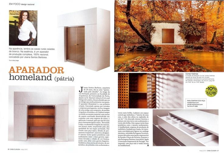 INSIDHERLAND | Homeland sideboard at Casa Claudia Magazine. Portugal. March 2012 #INSIDHERLAND #press #portugal #casaclaudia #magazine #homeland #aparador